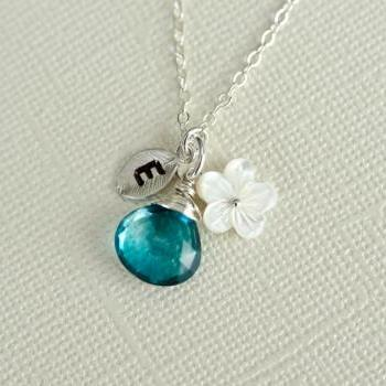 Custom Initial Necklace, Silver Tiny Leaf, Peacock Teal Blue Quartz, Mother Of Pearl Flower, Birthday Gift, Bridesmaid Personalized Necklace