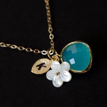 Custom Initial Necklace, Monogram Necklace, Opal Blue Glass, Leaf, Mother of Pearl Flower Bridesmaid gifts, Mother's Necklace