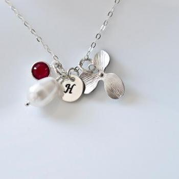 Birthstone Initial Necklace - Bridesmaid Necklace - White Pearl, Swarovski Birthstone, Silver Plated Orchid and Round Initial Disc