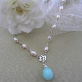 Bridal Necklace. Freshwater Pearls and Sea Blue Quartz Bridal Necklace