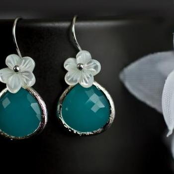 Bridesmaids Earrings, Mint Opal Glass Earrings, Rhodium Plated, Mint Opal Glass Drop, Mother of Pearl Flower and Sterling Silver Earrwires