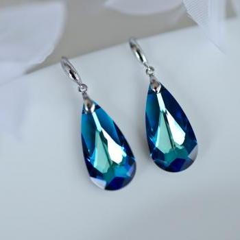 Bermuda Blue Earrings, Swarovski Crystal Earrings, Bridal Earrings on Sterling Silver Hook Earwires